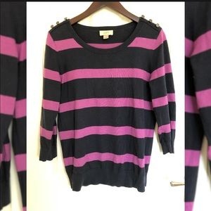 Loft, Navy & Purple Striped Button Detail Sweater